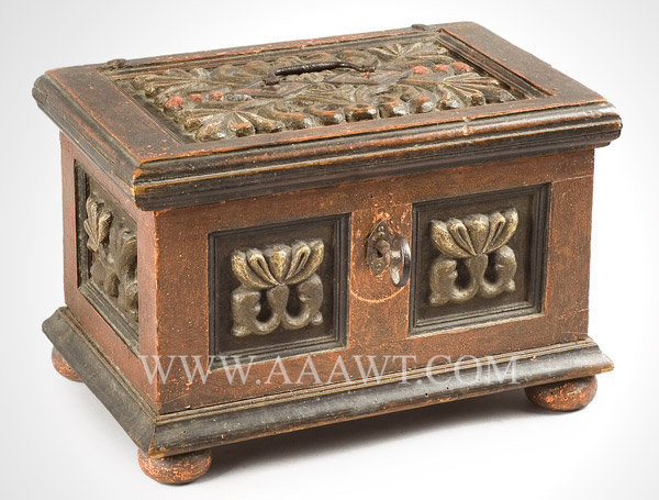 Box, Carved and Painted, Tabletop with Double Tills, Original Paint  Continental  Circa 1700, entire view