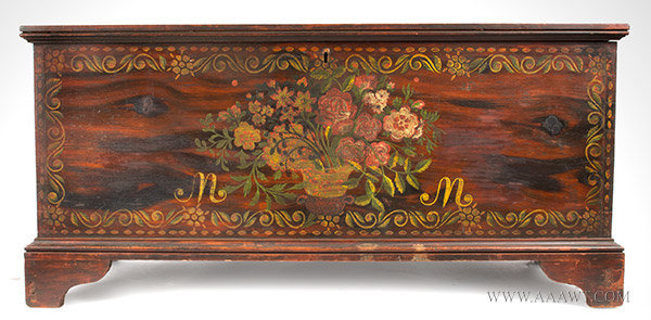 Blanket Chest, Paint Decorated, Schoharie or Albany County, New York, Original Condition  Circa 1815 to 1830, entire view