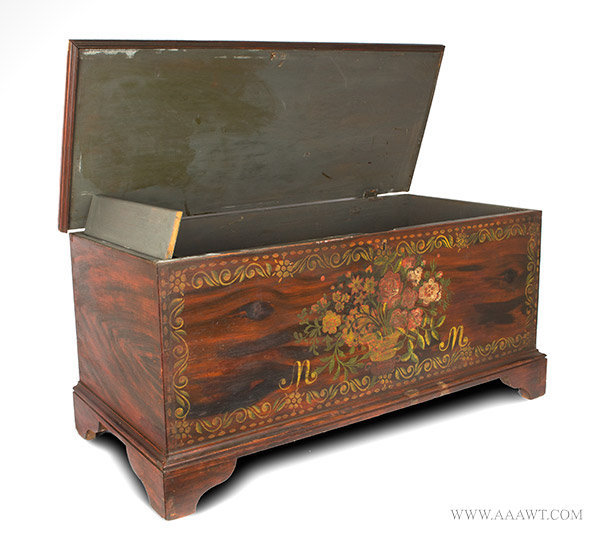 Blanket Chest, Paint Decorated, Schoharie or Albany County, New York, Original Condition  Circa 1815 to 1830, open view