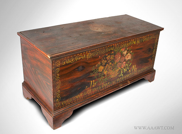 Blanket Chest, Paint Decorated, Schoharie or Albany County, New York, Original Condition Circa 1815 to 1830, angle view