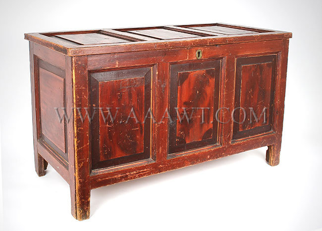 Paneled Blanket Chest, Original Painted Surface, All Sides Feature Raised Panels Anonymous Circa 1780ish, entire view