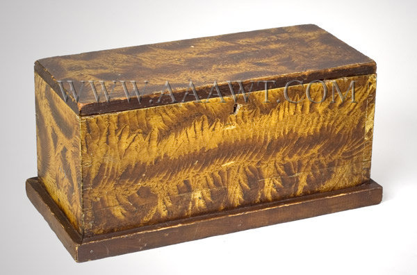 Antique Box, Trinket or Document, Original Paint Decoration New England Circa 1830, entire view