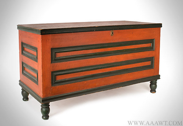 Antique Chest, Blanket Chest, Original Red and Green (oxidized to black) Paint Chester County, Pennsylvania, Circa 1830, entire view