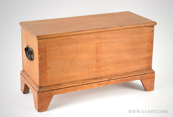 Miniature Six Board Blanket Chest, Thin Red Wash, Iron Heart Shape Handles  New England, 19th Century, angle view