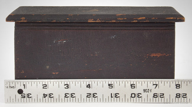 Antique Miniature Blanket Chest in Dark Original Varnish, 19th Century, with ruler for scale
