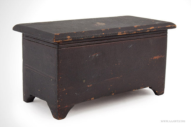 Antique Miniature Blanket Chest in Dark Original Varnish, 19th Century, angle view