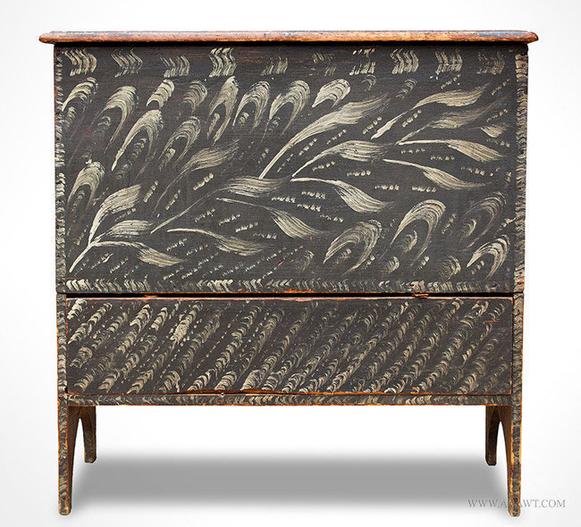 Antique Queen Anne Painted and Decorated Blanket Chest, Rhode Island, 19th Century, entire view
