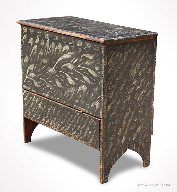 Antique Queen Anne Painted and Decorated Blanket Chest, Rhode Island, 19th Century, angle view 2