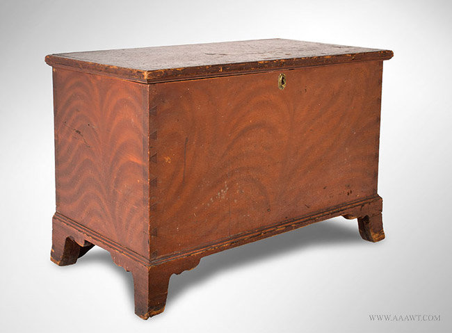 Antique Blanket Chest with Original Paint Decorated Surface, Circa 1820, angle view
