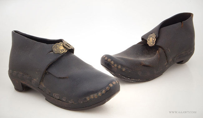 Antique Pair of Children's Leather Shoes with Wood and Iron Soles, 18th Century, pair view