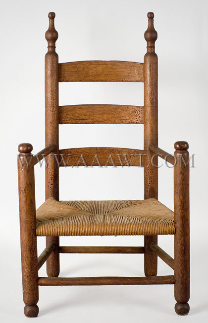 Highchair, Ladder Back, Splayed Legs, Original Red Paint, Wonderful Surface  New England, Circa 1780 to 1800. Maple and ash - SOLD - Antique Furniture_Childs Furniture, Miniature Furniture