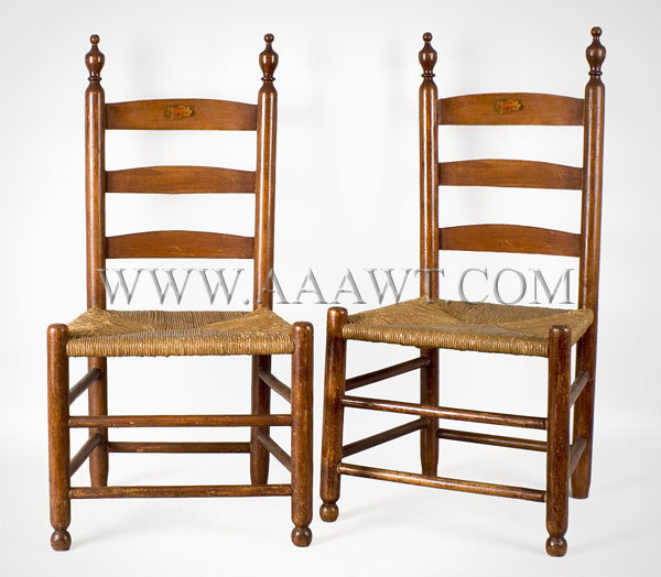 Child's Chairs, Bergen County, New Jersey A matched pair. Circa 1790-1810.  Maple - SOLD - Antique Furniture_Childs Furniture, Miniature Furniture