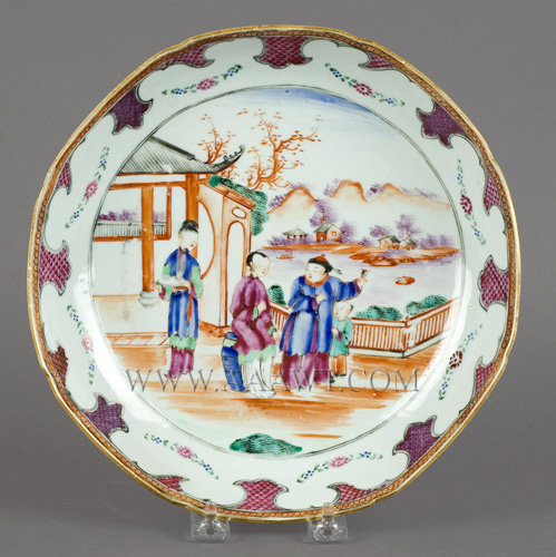 Chinese Export, Porcelain Plate, Mandarin Family Scene