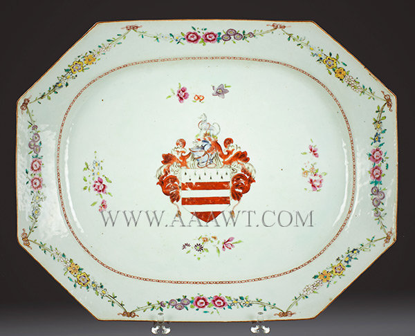 Chinese Export, Porcelain, Massive Platter, Flower and Festoon Border