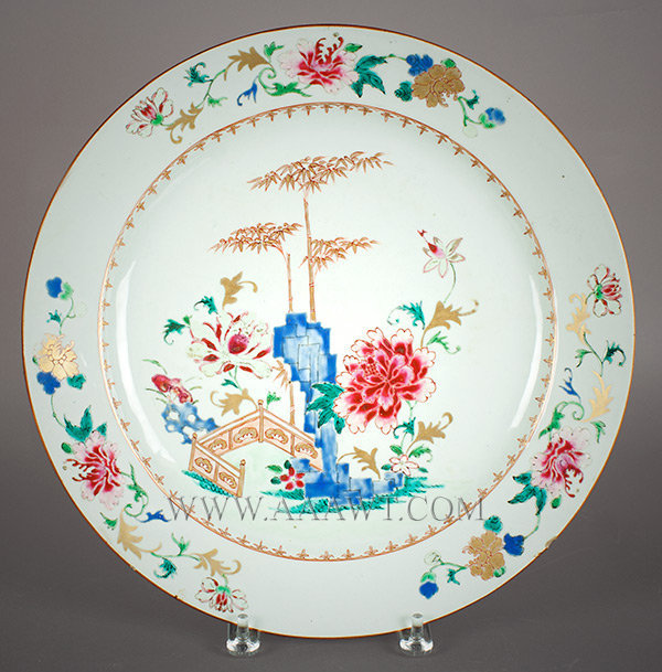 Chinese Export, Charger, Oriental Garden Scene, Peonies, Bamboo, Gilt