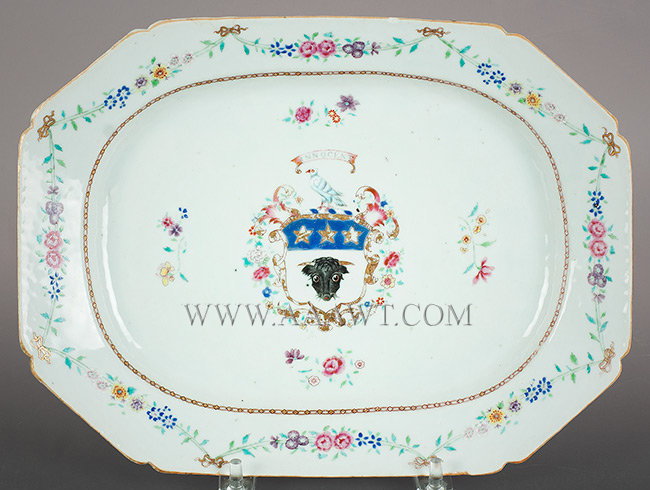 Chinese Export, Porcelain, Medium Platter, Armorial, Arms of Bull, Polychrome