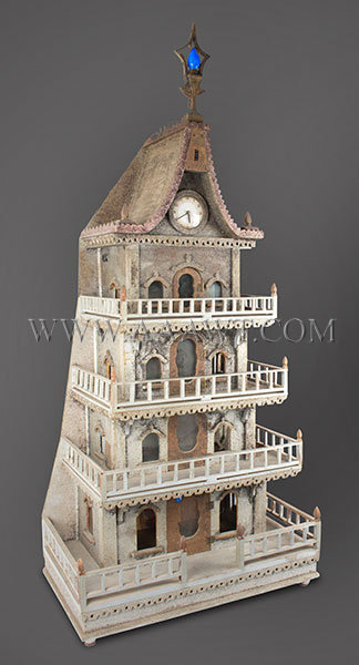 Antique Christmas House, Doll House, Circa 1920 to 1940, angle view
