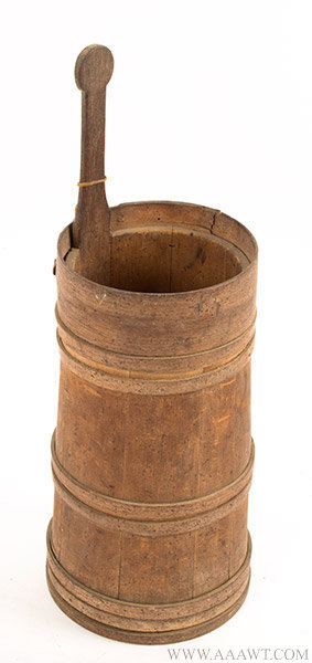 Early American Butter Churn, Rare Small Size, Best Natural Color and Dry Patina, Lollipop Handle Eighteenth or Early Nineteenth Century, entire view