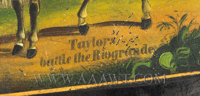 Cigar Case; Papier Mache, Zachary Taylor on Horseback, Battle of the Rio Grande Circa 1846 to 1850, name detail