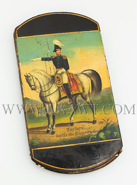 Cigar Case; Papier Mache, Zachary Taylor on Horseback, Battle of the Rio Grande Circa 1846 to 1850, entire view