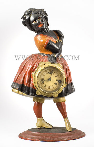Novelty Clock, Topsey, Cast Iron, Blinking Eyes Attributed to Bradley and Hubbard Meriden, Connecticut Circa 1865 to 1875, entire view