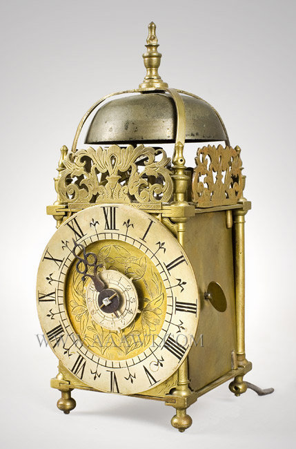 Miniature Lantern Clock Timepiece, Time and Alarm, Brass Case and Frets, Anonymous, Probably London Circa 1700, entire view