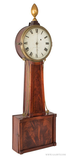 Antique Joseph Nye Dunning Patent Banjo Clock, Original Steel Hands, Vermont, Circa 1832, angle view