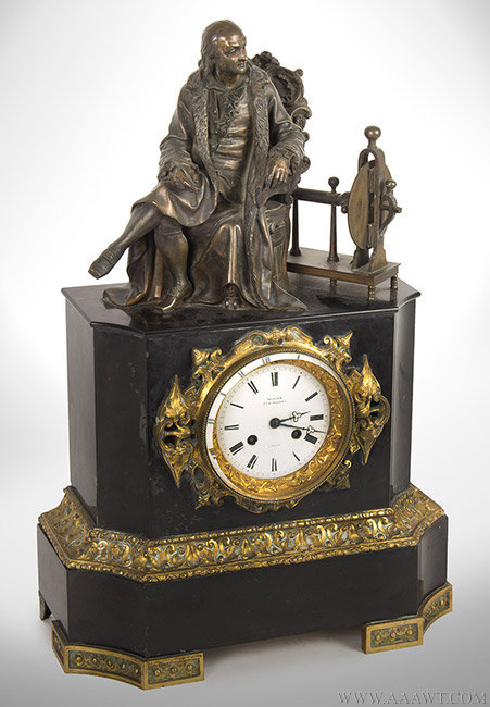 Antique Mantle Clock with Bronze Figure of Benjamin Franklin, 19th Century, angle view
