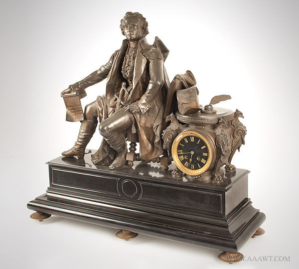 Bronzed Metal Clock with Figure of George Washington, Circa 1876, angle view
