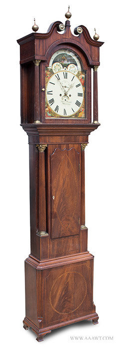 Antique Tall Clock by Martin Worcester with Inlayed Case, Circa 1800 to 1810, angle view