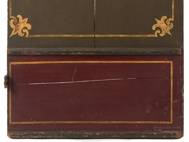 Antique Pair of Glazed Stagecoach Doors, Painted and Gilt, bottom detail