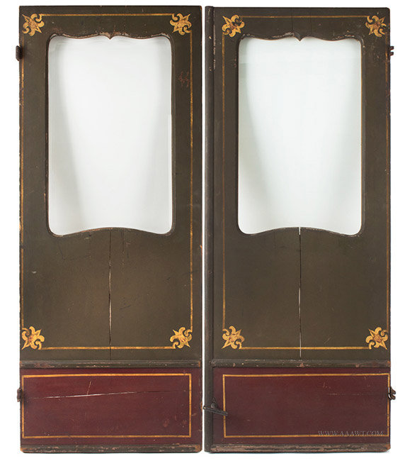 Antique Pair of Glazed Stagecoach Doors, Painted and Gilt, entire view