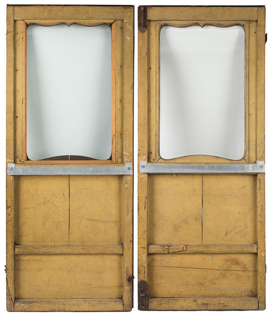 Antique Pair of Glazed Stagecoach Doors, Painted and Gilt, back view