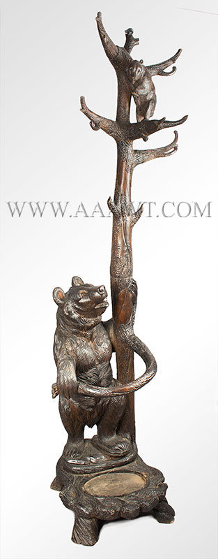 Antique Carved Hall Tree, Umbrella Stand, Mother Bear and Cub, 19th Century, angle view
