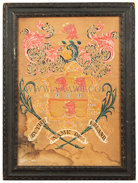 Coat of Arms, Leland Family, Watercolor  Attributed to John Coles  Boston, Massachusetts  Circa 1800, entire view