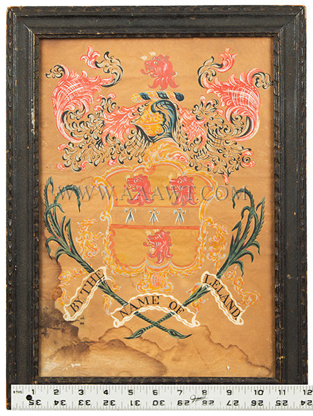Coat of Arms, Leland Family, Watercolor  Attributed to John Coles  Boston, Massachusetts  Circa 1800, scale view