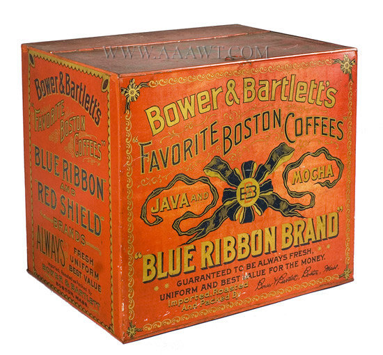 Coffee Bin, Store Counter Tin, Bower and Bartlett's Coffee, Lithograph  Boston, Massachusetts  1875 to 1900, entire view