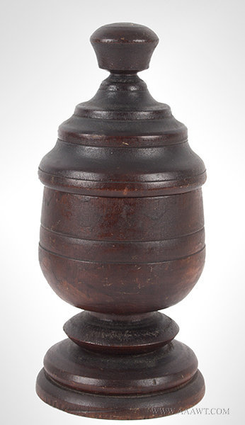 Antique Footed and Lidded Treen Contianer, 19th Century, entire view