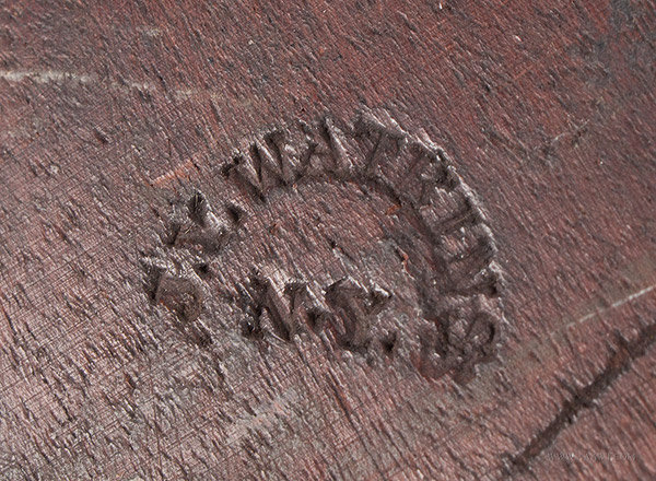 Antique Carved Cookie Board/Cake Print, Impressed Watkins and Conger, New YOrk City, 19th Century, conger signature detail