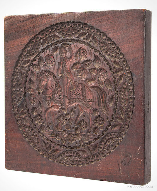 Antique Carved Cookie Board/Cake Print, Impressed Watkins and Conger, New York City, 19th Century, angle view