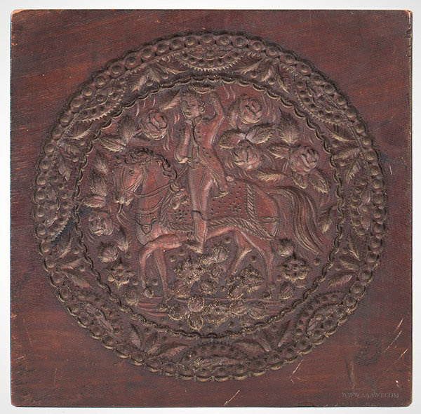 Antique Carved Cookie Board/Cake Print, Impressed Watkins and Conger, New YOrk City, 19th Century, entire view