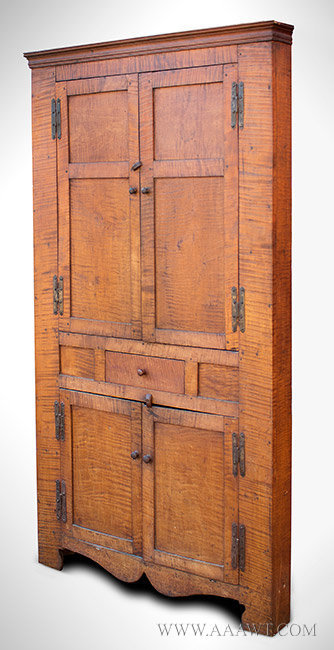 Cupboard, Tiger Maple Corner Cupboard, Foliated Crown 'H' Hinges  American, Northeast or Pennsylvania, Circa 1800, entire view