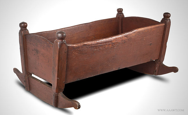 Antique Rocking Cradle in Original Red Paint, New England, Circa 1700 to 1730, angle view 1