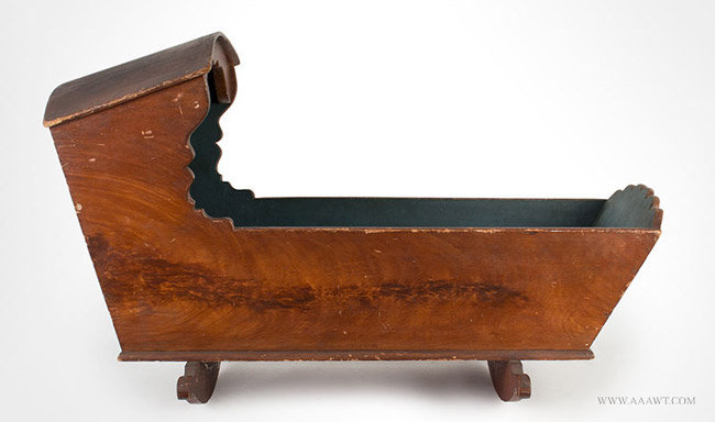 Antique Hooded Cradle in Original Paint, New York State, Circa 1800, entire view