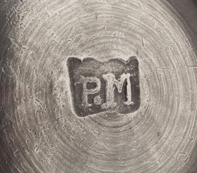 Antique Pewter Creamer by Philip Matthews, London, mark detail
