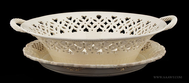 Antique Openwork Creamware Basket and Underplate, 18th Century, entire view