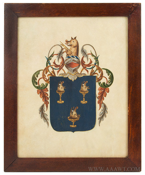 Crest, Family Crest Painted On Vellum, Armorial, Heraldic  Anonymous, Likely United Kingdom, Early 19th Century, entire view