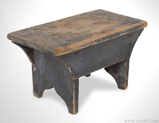 Antique Cricket/Stool in Original Soft Gray Paint, New England, 19th Century, angle view