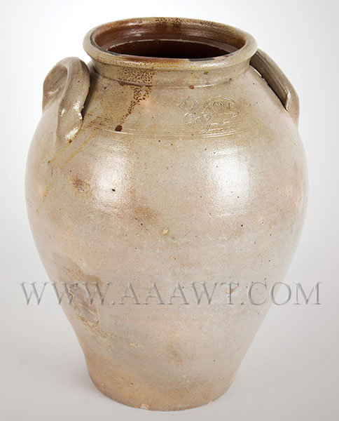 Stoneware Ovoid Jar Attributed to Frederick Carpenter, Impressed Banner    Boston, Early 19th Century, entire view