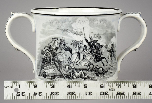 Frog Mug, Transfer Printed, Battle Scenes, Pearlware, Two Handle Staffordshire 19th Century, scale view